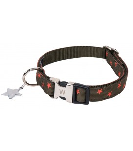 COLLIER NYLON STAR KAKI 12MM-22/32CM