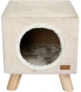 CAT HOUSE & SCRATCHER PILOTI 30X30X35 CM BEIGE