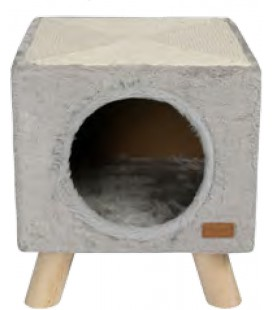 CAT HOUSE & SCRATCHER PILOTI 30X30X35 CM GRAU