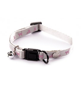 COLLIERS REGLABLE NYLON CHAT GRIS ROSE