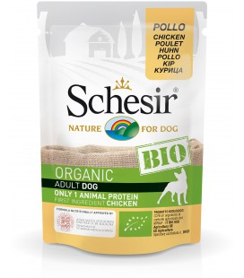 CARTON DE 16 SACHETS SCHESIR DOG CHICKEN 85 G BIO