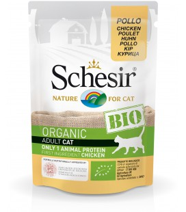CARTON DE 16 SACHETS SCHESIR CAT CHICKEN 85 G BIO
