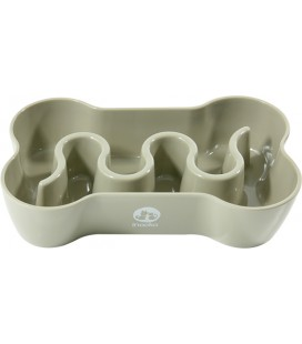 INOOKO Gamelle chien Anti-glouton os S/M Taupe