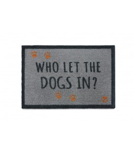 TAPIS D'ENTREE DOGS IN GRIS CLAIR 50X75CM
